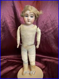 Early Kestner 145 Bisque Shoulder Head Doll Org Mohair Wig Child Leather Body
