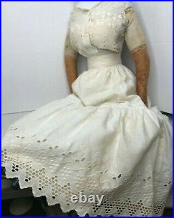 Large 28 Antique German China Head Doll Leather hands and boots Antique Clothes