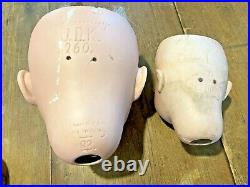 Lot of 9 Antique German Bisque Doll Heads Parts Repair TLC JDK AM Simon Halbig