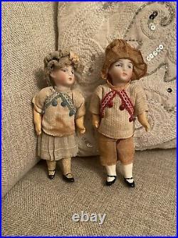 Pair Of Bisque Head Antique German All Orignal 5 Dollhouse Size Dolls Boy Girl