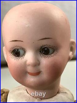 RARE 7 ANTIQUE BISQUE HEAD DOLL GOOGLY Watermelon Smile P. M. 255 6/0 Adorable