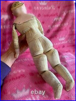 RARE, Early Kestner, German 1880's doll, bisque head /arms, leather 17 Tall