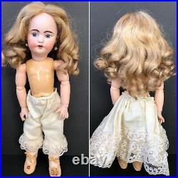 Unidentified 14.5 Antique German  Bisque Head Pierced Ears Doll Marked 5