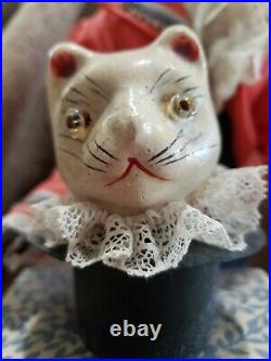 Vintage Bisque Head 16 Automaton Magician Doll with Glass Eyes